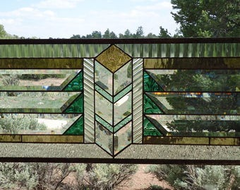 "stained glass window hanging""ARTS & CRAFTS TRANSOM"" clear and glue chipped beveled glass, architectural glass,flw style,mission style,"