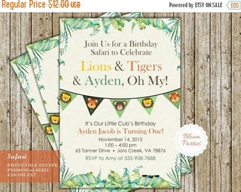SALE LIMITED TIME Safari Birthday Invitation Lions, and Tigers and Bears Oh My! Lions & Tigers Invite First Birthday Boy Jungle Safari Digit