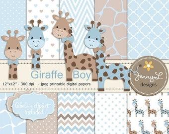 50% OFF Giraffe Boy Baby Blue Shower Digital Papers and Clipart, Boy Baptism, Dedication, Birthday, Baby Giraffe Clipart, Giraffe Print, Ani