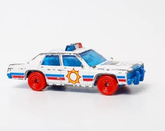 Vintage Metal Toy, Police car, Matchbox, Ford, Made in Thailand 1980s  (RT143)