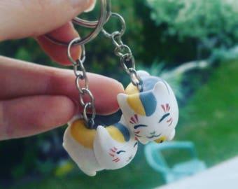 book of friends neko cats cute fox polymer clay charm game manga anime cute kawaii nyanko sensei keychain handmade mystic natsume yuujinchou