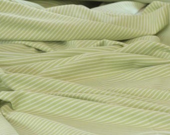 Lime White Stripes - C-Pauli - Organic Cotton Double Knit  UK Seller