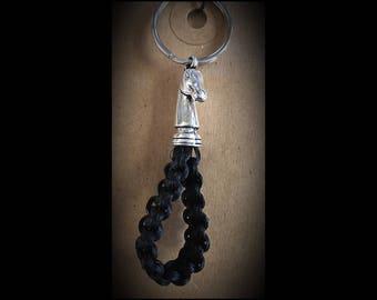 Black horsehair Keychain w/ horsehead end cap