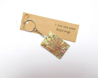 Birmingham, UK keyring: key fob made with original map of the city. Keychain gift idea for boyfriend, new home, best friend, dad, brother