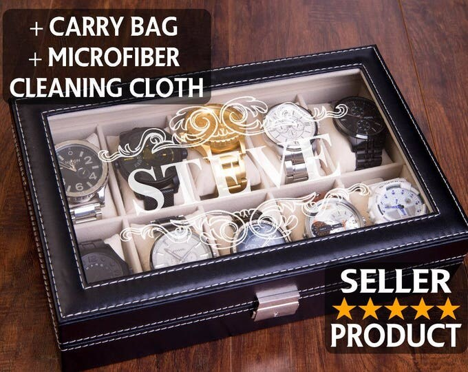 Watch Case, Engraved Watch Box, Storage Watch Box, Men's Gift, Jewelry Valet Box, Wedding Gift, Jewelry Box, Personazlied & Custom