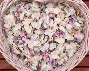 Grey ivory pink biodegradable confetti natural slow falling (ten small handfuls) Winter Wedding
