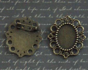 Cameo brooch ready to decorate 37x43mm bronze metal