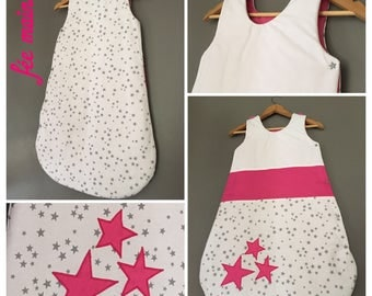 Sleeping bag 6-12 months in white cotton printed stars and Fuchsia