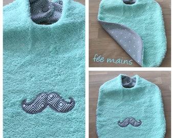 Bib Terry organic seagreen with mustache fabric scandinve