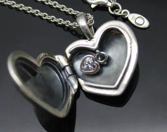 """GIFT IDEA!! Authentic Pandora Heart Shaped White CZ Charm Heart Locket Solid Sterling Silver Long Necklace 30"""""""