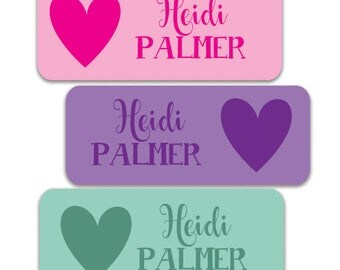 Personalized Waterproof Name Labels, Heart stickers, Girl Daycare School Labels, Pink, Mint, Purple