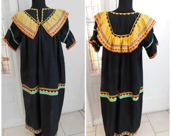 Vintage Spanish Mexican Caftan Dress Vintage Kaftan Dress Souvenir Dress Ethnic Dress Womens Long Dress Hippie Folk Dress