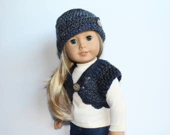 Crocheted cloche hat and shrug in shades of blue made to fit 18 inch dolls such as American Girl and My Imagination