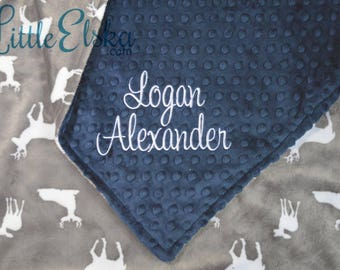 Personalized Blanket, Minky Blanket, Personalized Name Blanket, Navy Blanket, Choose Your Colors, Choose Your Size.