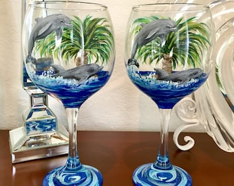 Dolphin Play Wine Glasses