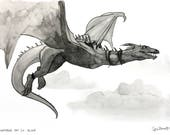 Dragon Ink Drawing Small Print Harry Potter Fanart Gringotts Animal Art Minimalist Artwork Pen and Ink Painting Wall Affordable Art Freehand