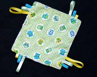 Flat taggy owls owls for baby girl Boy gift birth cotton Minkee