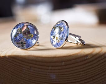 Forget-me-not resin cufflinks