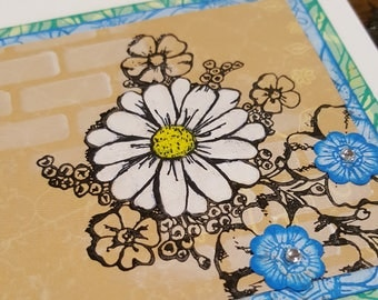 Floral Card for any & all occasions. Hand painted flowers on multiple layers of stamped papers.  All stamping on this was done in paint!