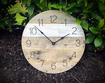 "Large 18"" Reclaimed Wood Clock - Round w/ White Stripe - Pallet Wood - Repurposed"