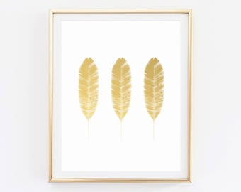 Feather Print, Gold Foil, Feather Decor, Printable, Art Print, Gold Art, Prints, Gold Wall Art, Feather Art, Wall Art Prints, Feather Poster