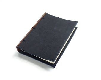 Leather Journal Black, Sketchbook or Guestbook 4x6