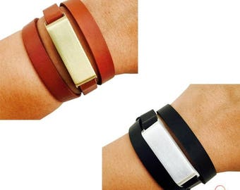 SALE Fitbit Bracelet for Fitbit Flex Fitness Trackers - The KATE Wrap Brushed Metal and Premium Vegan Leather Buckle Bracelet - FREE Shippin