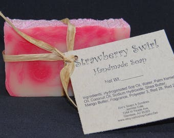 Strawberry Swirl Handmade Cold Process Soap