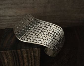 Beaded Chevron Bali Silver Cuff - 925 Sterling Silver - Bali Sterling Cuff -- Silver Cuffs