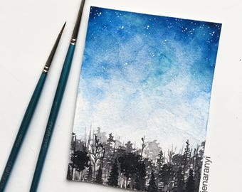 Watercolor Galaxy Painting, Forest Painting, Mountain Painting, Watercolor Night Sky Painting, Nature Watercolor, Tree Painting, Forest Art
