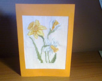 Birthday card or just for fun, embroidered cross stitch: daffodils