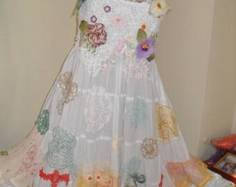 Unique bridal dress, hand-knit lace, silk flowers and chiffon