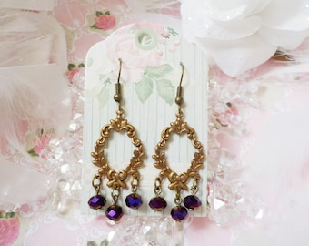 Victorian brass and Amethyst Crystal bead earrings