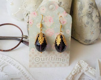 Purple Crystal and brass Victorian earrings