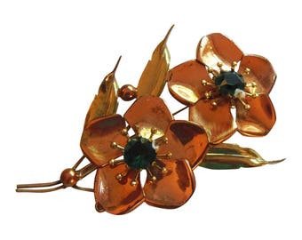 Vintage 1940 Copper And Gold Dogwood Flower Fur Clip Dress Clip