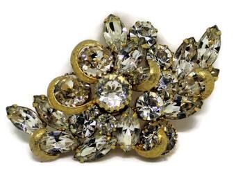 Kramer Sparkling Gold Rhinestone Brooch/Pin Vintage 1950 Bridal Pin Rhinestone Jewelry Gold Jewelry