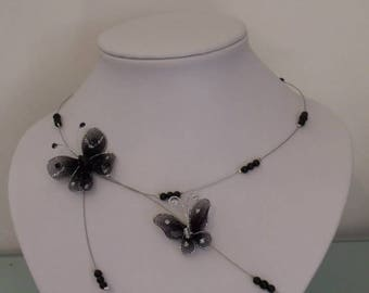 Necklace black wire Butterfly hypoallergenic available on wedding
