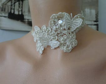 ivory lace Choker necklace set with ivory Butterfly wedding beads