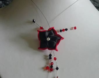 Flower necklace black and Red wire hypoallergenic available on wedding