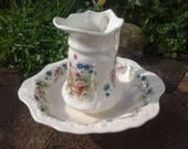 Victorian Floral Jug and Wash Bowl