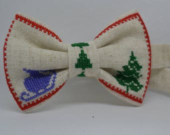 Mens bow tie - Christmas bow tie - Cross stitch bow tie - Christmas tree - Gift for men - Christmas present - Gift for him