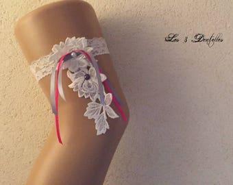 Fuchsia and grey ivory lace wedding garter * lace * custom