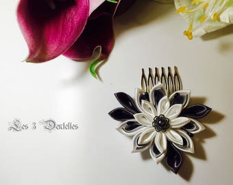 Gray, white satin flowers Wedding Hair Combs * 3 lace *.