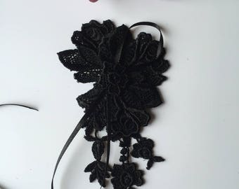 Wedding brooch lace black flower * 3 lace *.