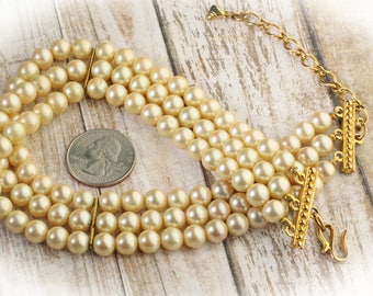 Vintage Triple Strand Faux Cultured Pearl Choker, Bridal Necklace, Adjustable from 12 to 16 inches