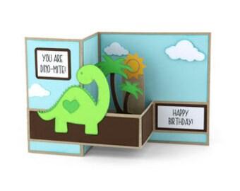 Dino-Mite Birthday Dinosaur Card , Pop-up , 3D , Kids , Boys , Girls , Trees , Prehistoric , PaperCut