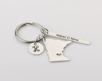 Personalized Initails Name Keychain - I Heart Minnesota Keychain - Anniversary Gift for Boyfriend - Long distance Relationship Gift