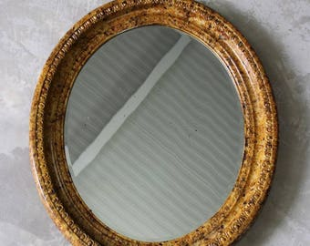 Antique Painted Oval Wall Mirror