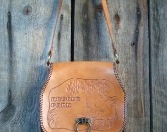 20% OFF Vintage Genuine Leather Bag; Honey Brown Leather Purse; Light Brown Hard Leather Bag; Womens Handbag with Nature / Animal / Rhino Mo