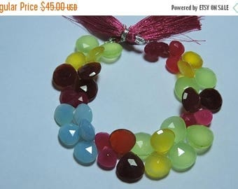 summer sale 25% OFF 7 Inches Strand Multi Color Chalcedony Faceted Heart Shaped Briolette Size 8 - 13 MM